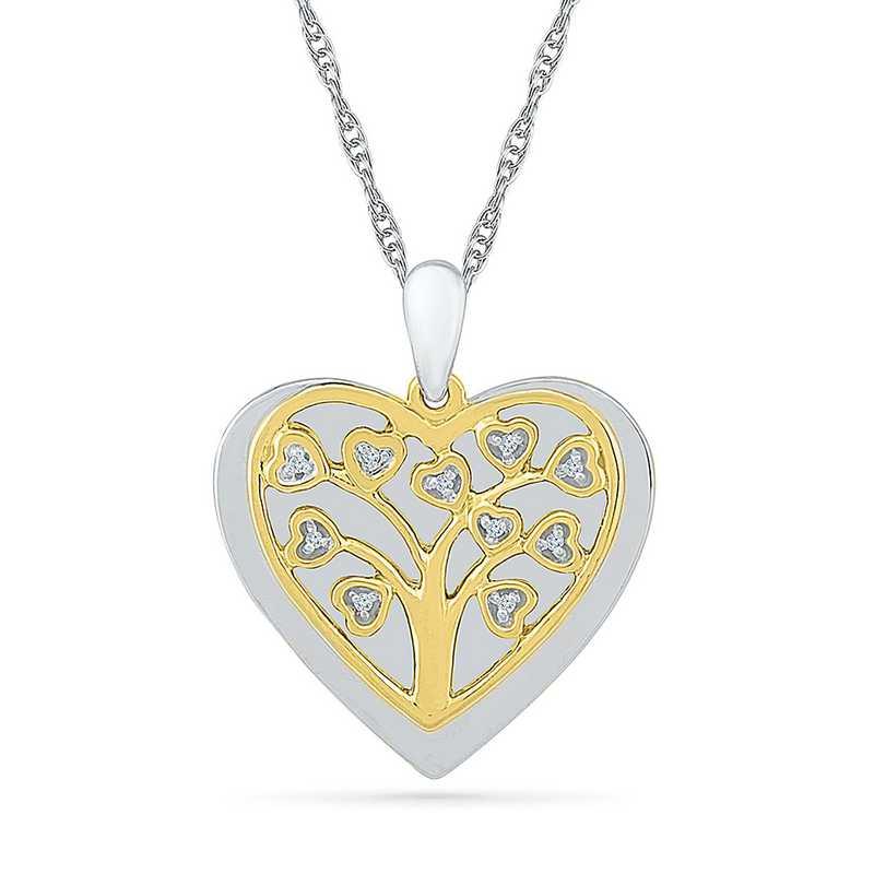 PQ079442AAY: 925 14KYGP DIA ACCNT FAMILY TREE HEART NECKLACE