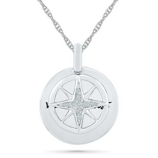PQ079675AAW: 925 DIA ACCNT DIA WANDERLUST COMPASS NECKLACE