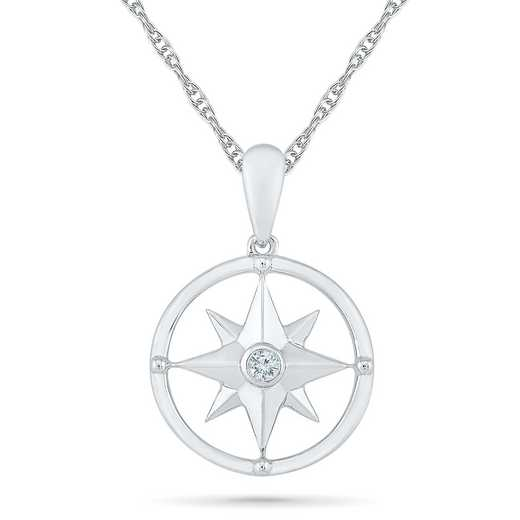 PQ079708AAW: 925 DIA ACCNT DIA WANDERLUST CUT OUT COMPASS NECK