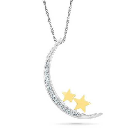 PQ083675AXY: STERLING SILVER AND 10KT YG WITH DIA ACCENT FASHION PENDANT