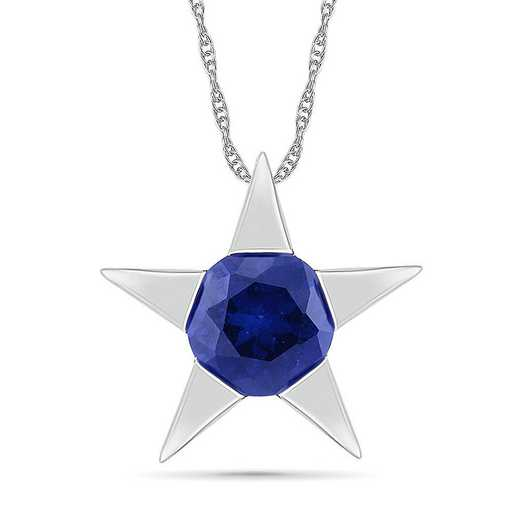 PQ105821ZAW LBS: SS WITH CREATED BLUE SAPPHIRE FASHION PENDANT