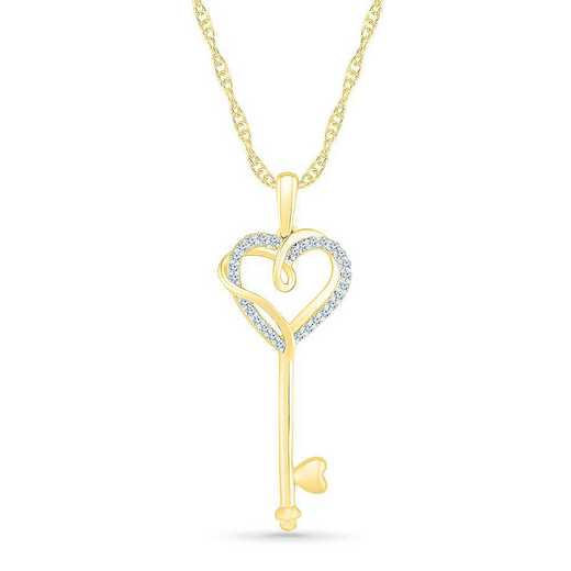PQ207446BAY: SS WITH YELLOW GOLD PLATING DIA ACCENT FASHION PENDANT