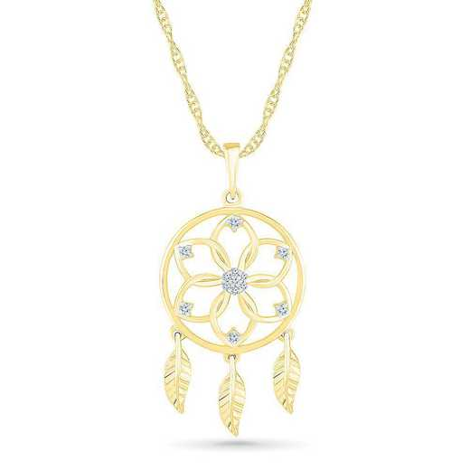 PQ207460AAY: SS WITH YELLOW GOLD PLATING DIA ACCENT FASHION PENDANT