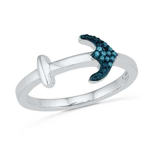Blue Diamond Accent Fashoin Ring in Sterling Silver
