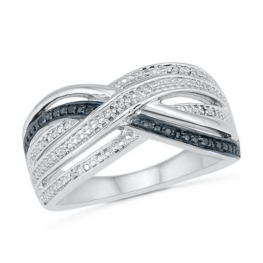 Sterling Silver Black And White Diamond Accent Fashion Ring