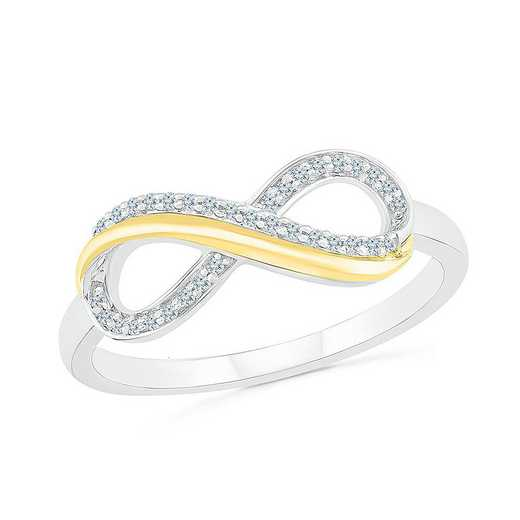 SS & 10KT YG WITH 1/10CTTW DIAMOND FASHION RING