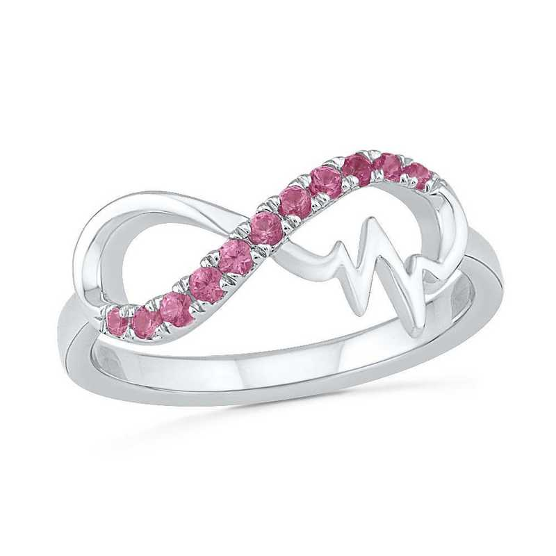Sterling Silver Lab Created Pink Sapphire Wave Ring