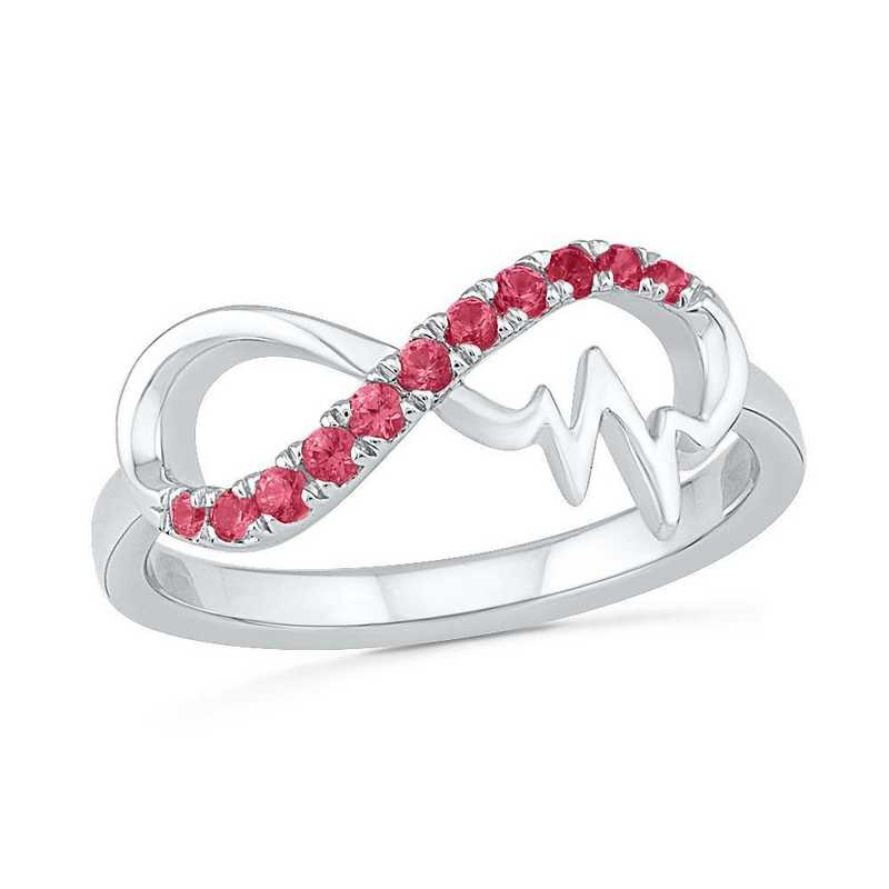 Sterling Silver Lab Created Ruby Wave Ring