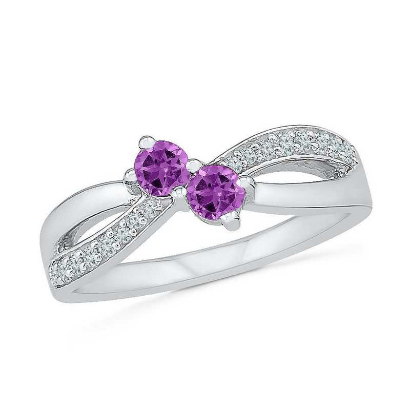 Sterling Silver Lab Created White Sapphire & Amethyst 2 Stone Twist Ring