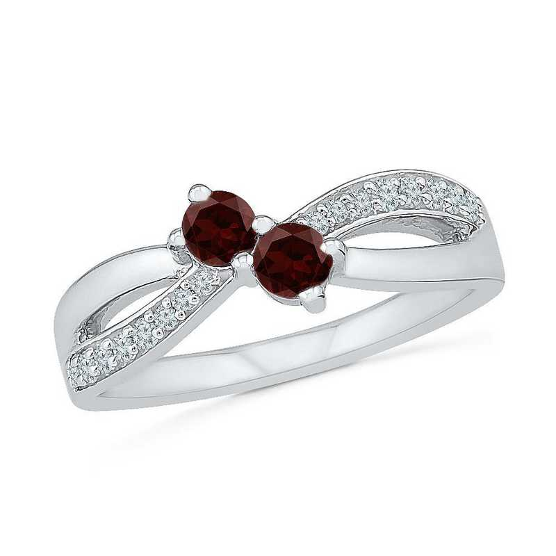 Sterling Silver Lab Created White Sapphire & Garnet 2 Stone Twist Ring