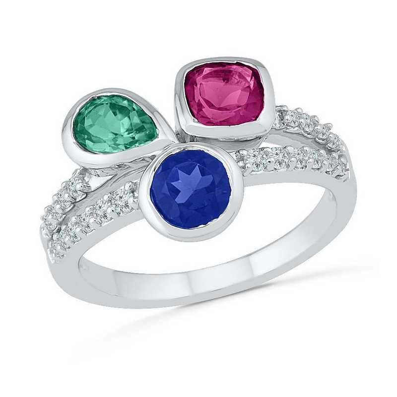 10K White Gold Created White- Blue & Pink Sapphire & Created Emerald Fashion Ring