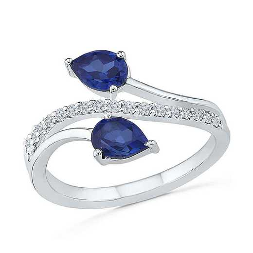STERLING SILVER CREATED BLUE AND WHITE SAPPHIRE FASHION RING