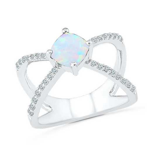 Sterling Silver Created White Sapphire & Opal Crossover Ring