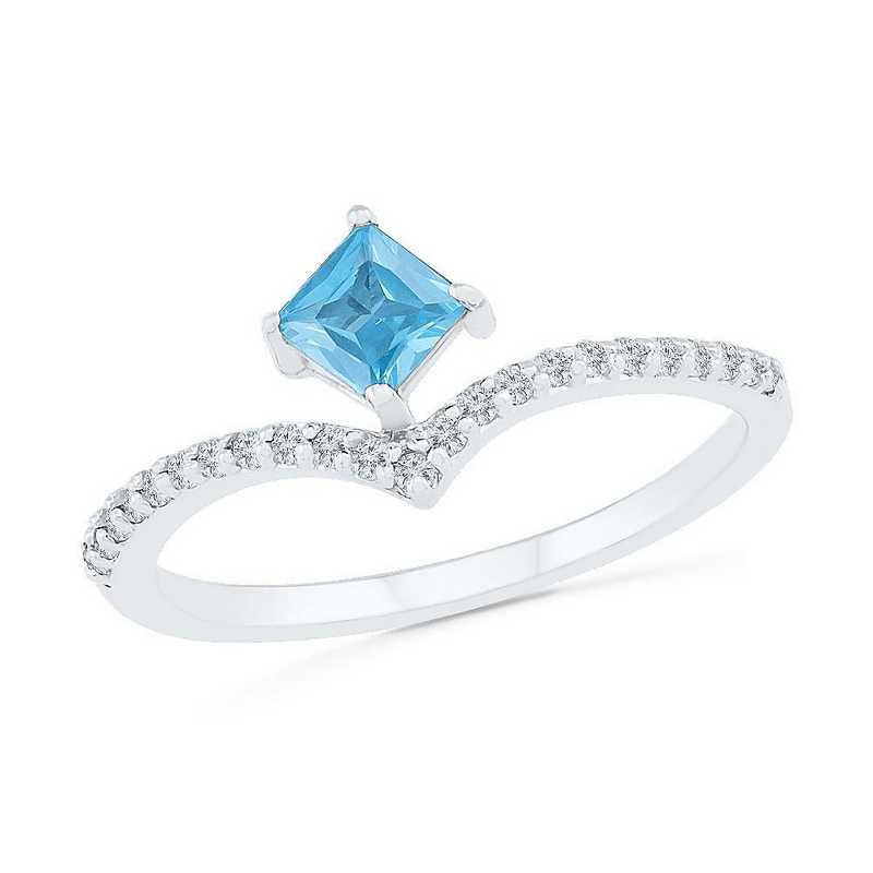 10K White Gold 1/8 CT.TW. Diamond Blue Topaz Chevron Ring