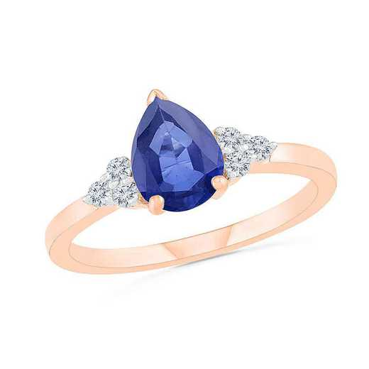 10KT ROSE GOLD CREATED WHITE AND BLUE SAPPHIRE FASHION RING