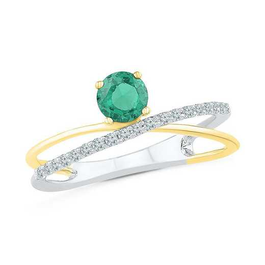 Sterling Silver & 10K Yellow Gold Lab Created White Sapphire & Lab Created Emerald Crossover Ring