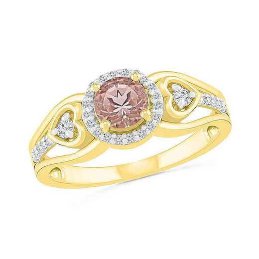 10KT YELLOW GOLD MORGANITE & WHITE SAPPHIRE FASHION RING