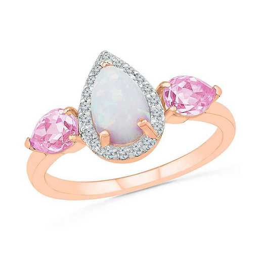 10KT ROSE GOLD CREATED OPAL AND PINK SAPPHIRE WITH 1/10CTTW DIAMOND FASHION RING