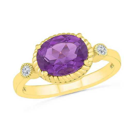 10KT YELLOW GOLD AMETHYST AND WHITE SAPPHIRE FASHION RING