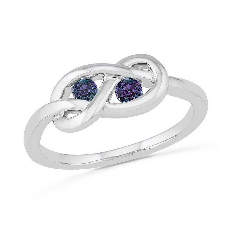 Sterling Silver Lab Created Alexandrite Birthstone Knot Ring