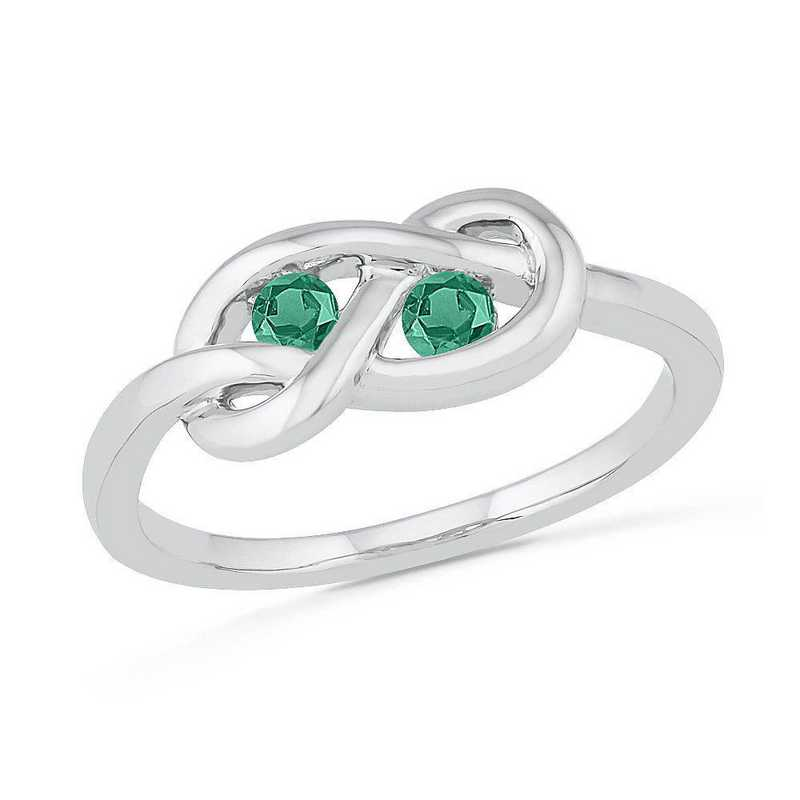 Sterling Silver Lab Created Emerald Birthstone Knot Ring