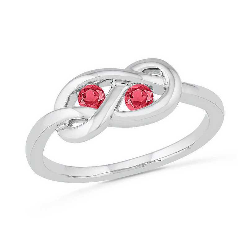 Sterling Silver Lab Created Ruby Birthstone Knot Ring
