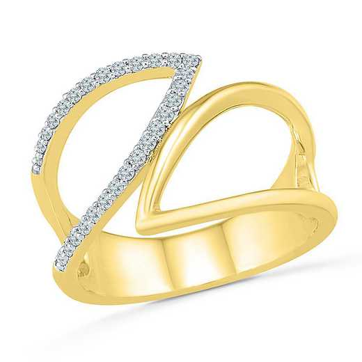 10KT YELLOW GOLD WITH 1/6CTTW DIAMOND FASHION RING