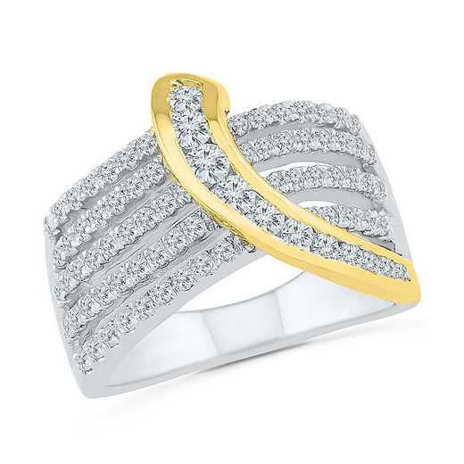 10KT WHITE & YELLOW GOLD WITH 1CTTW DIAMOND FASHION RING