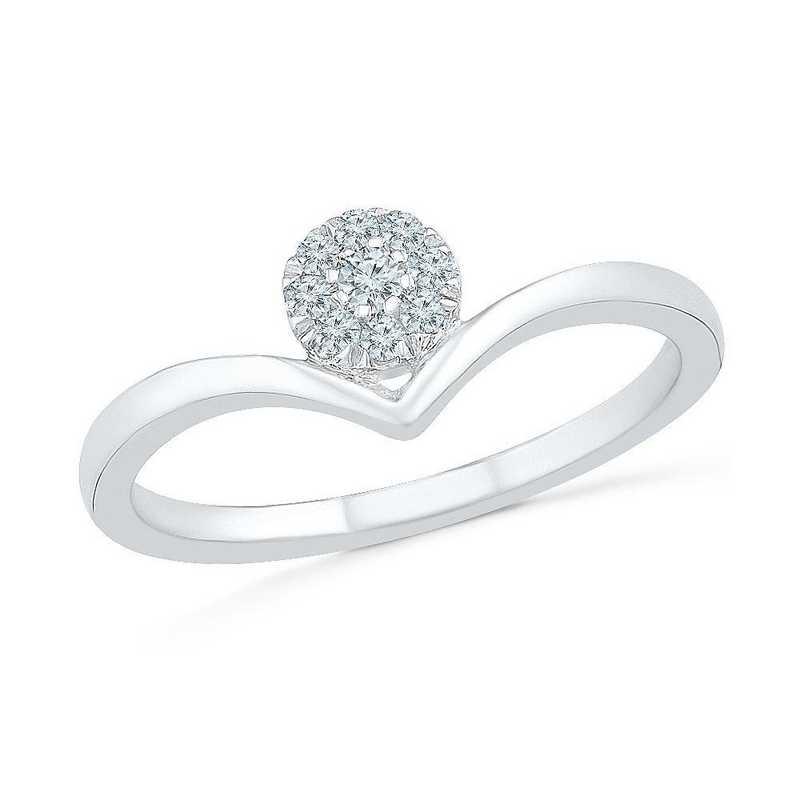 10K White Gold 1/10 CT.TW. Diamond Promise Ring