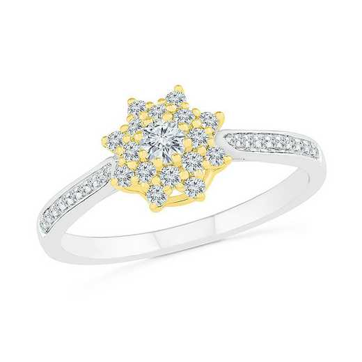 10KT WHITE & YELLOW GOLD WITH 1/3CTTW DIAMOND FASHION RING