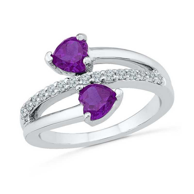Sterling Silver  Lab Created White Sapphire & Amethyst Bypass Heart Ring