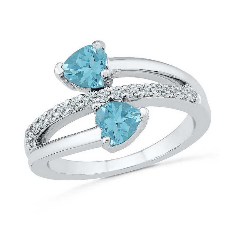 Sterling Silver  Lab Created White Sapphire & Aquamarine Bypass Heart Ring