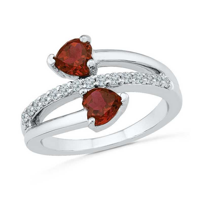 Sterling Silver  Lab Created White Sapphire & Garnet Bypass Heart Ring