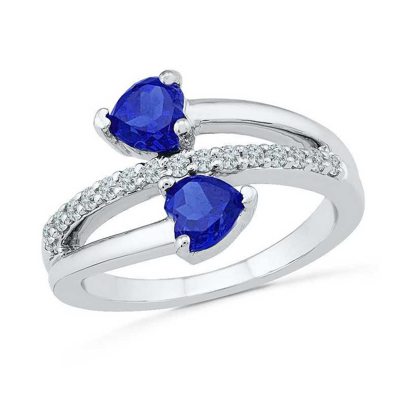 Sterling Silver  Lab Created White Sapphire & Lab Created Blue Sapphire Bypass Heart Ring