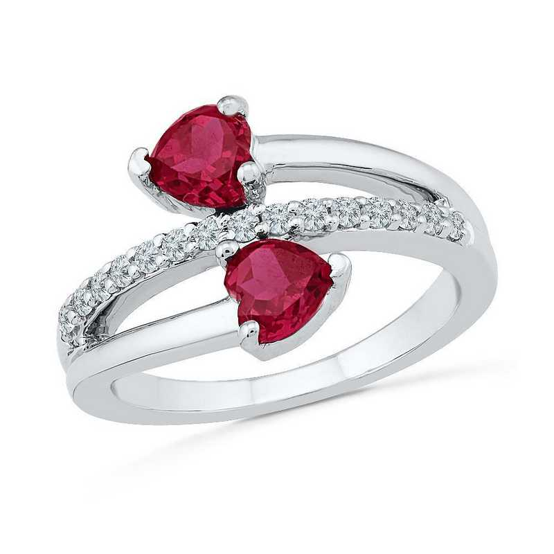Sterling Silver  Lab Created White Sapphire & Lab Created Ruby Bypass Heart Ring