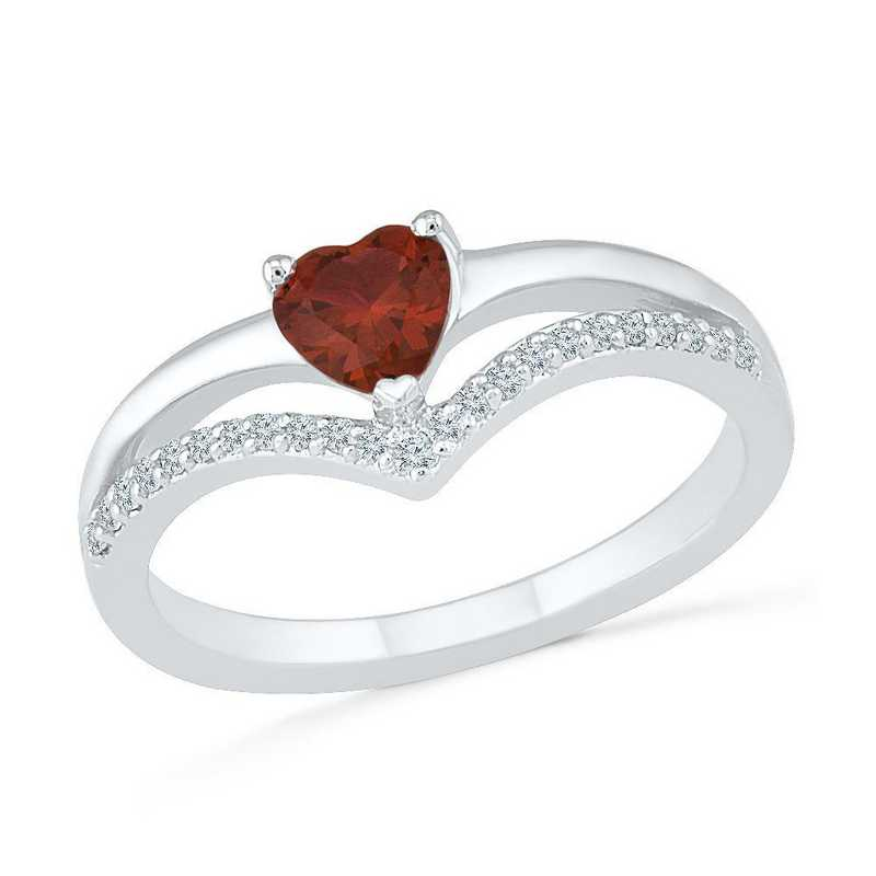 Sterling Silver Lab Created White Sapphire & Garnet Heart Chevron Ring