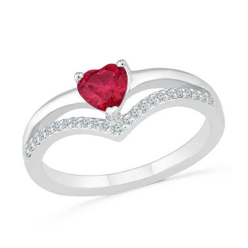 Sterling Silver Lab Created White Sapphire & Lab Created Ruby Heart Chevron Ring