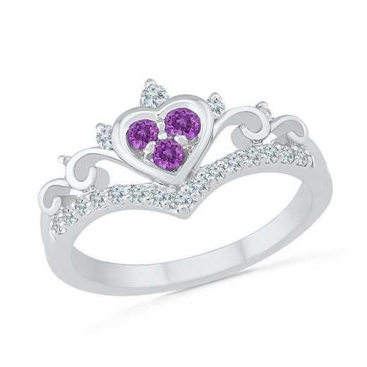 10K White Gold Created White Sapphire & Amethyst Heart Ring