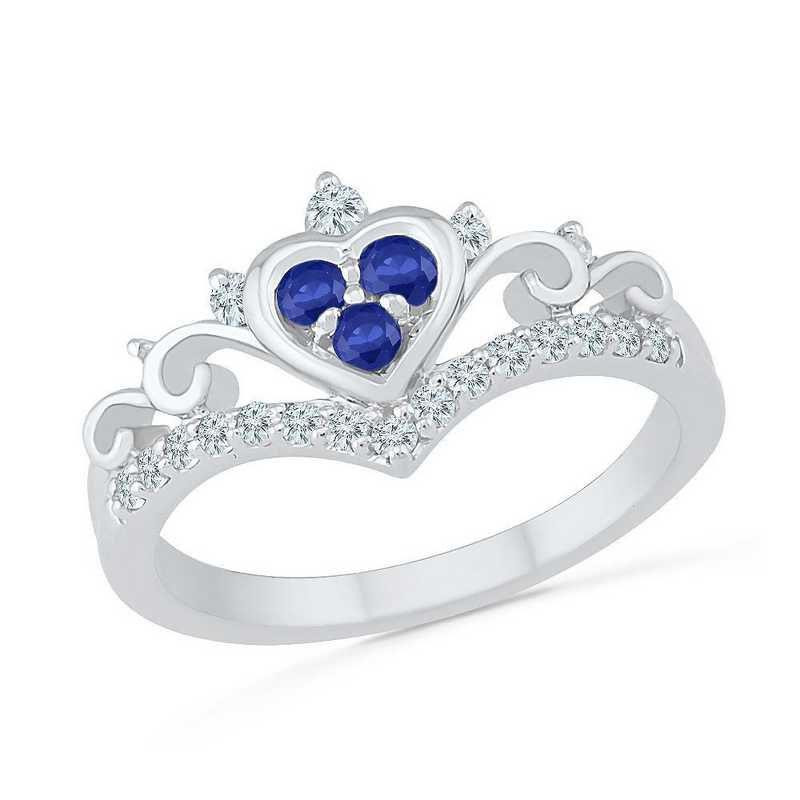 10K White Gold Created White & Blue Sapphire Heart Ring