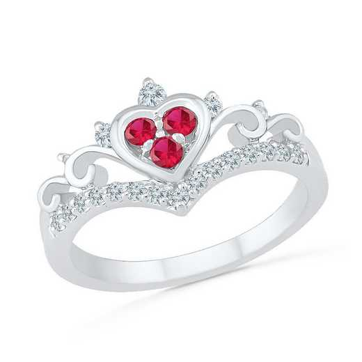 10K White Gold Created White Sapphire & Created Ruby Heart Ring