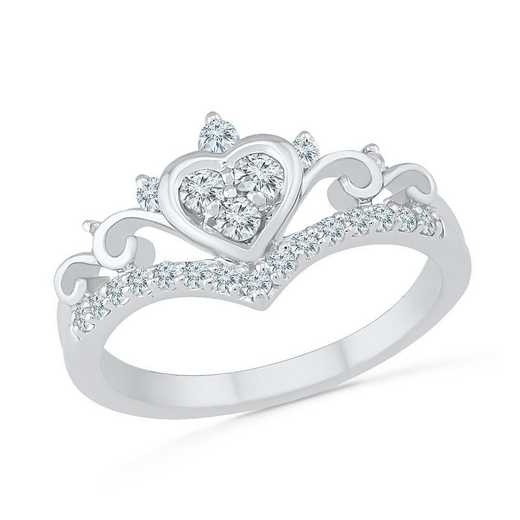 10K White Gold Created White Sapphire Heart Ring