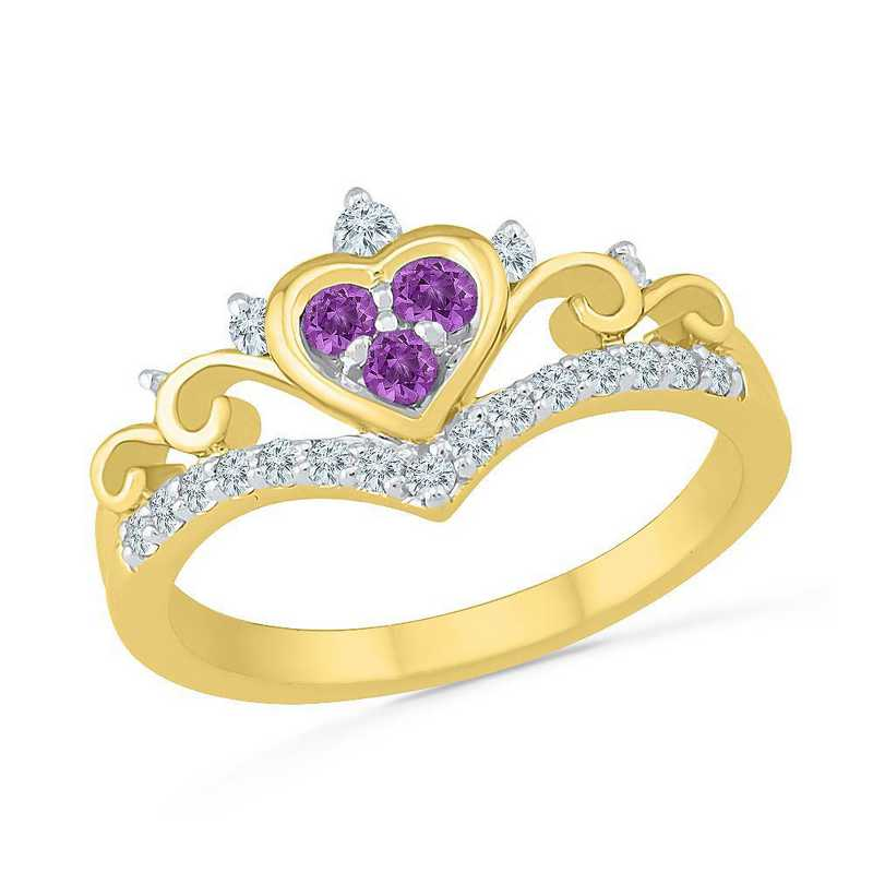10K Yellow Gold Created White Sapphire & Amethyst Heart Ring