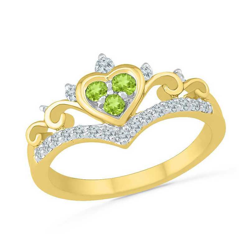 10K Yellow Gold Created White Sapphire & Peridot Fashion Ring