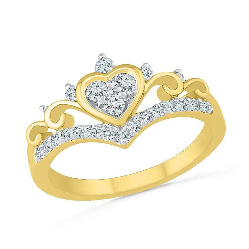 10K Yellow Gold Created White Sapphire Fashion Ring