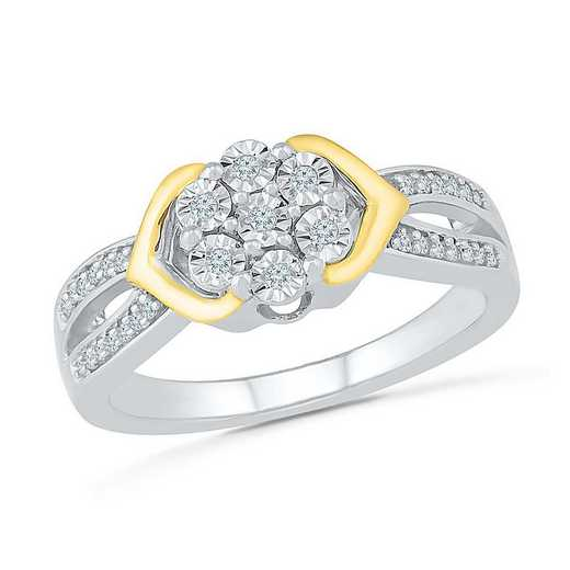SS & 10KT YG WITH DIAMOND ACCENT FASHION RING