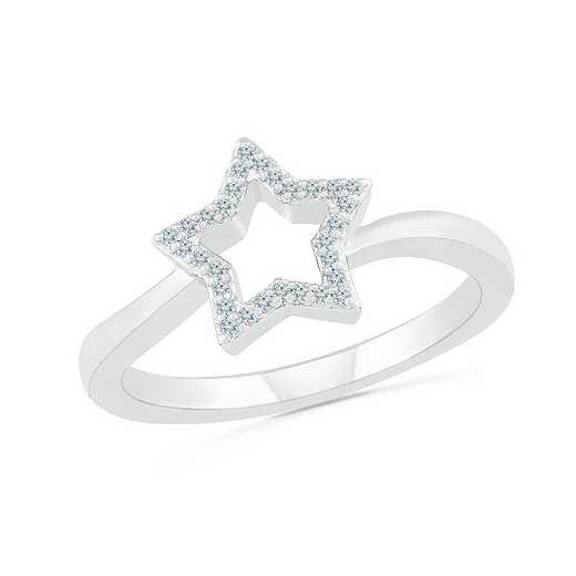STERLING SILVER WITH 1/10CTTW DIAMOND FASHION RING