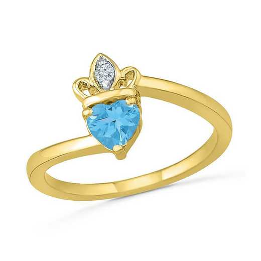 10K Yellow Gold Created White Sapphire & Blue Topaz Crown Ring