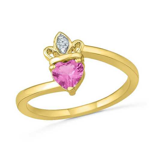 10K Yellow Gold Created White & Pink Sapphire Crown Ring