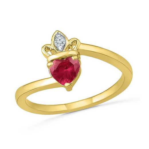 10K Yellow Gold Created White Sapphire & Created Ruby Crown Ring