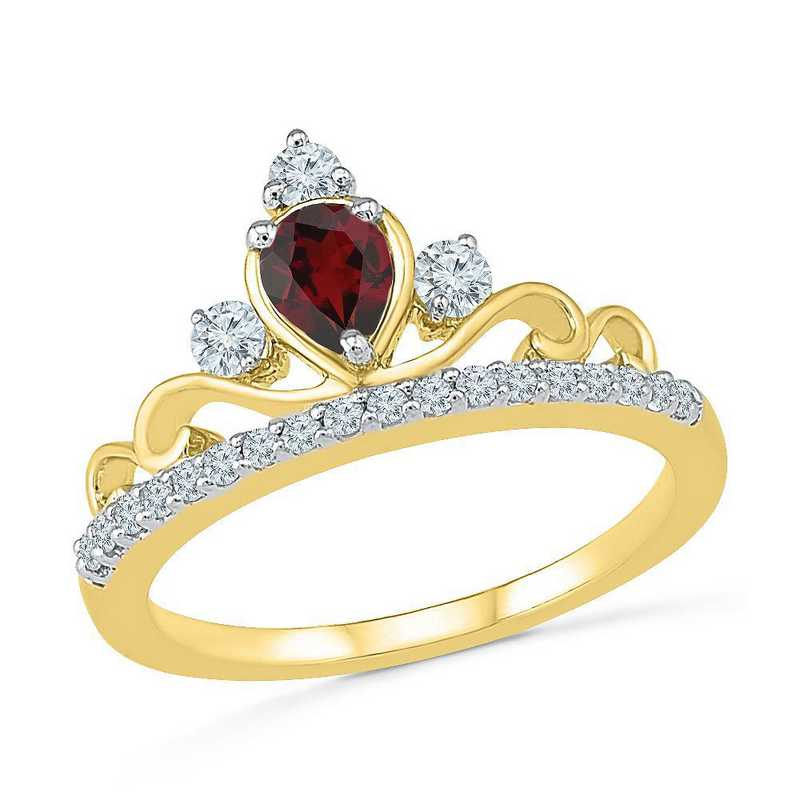 10K Yellow Gold Created White Sapphire & Garnet Crown Ring